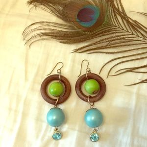 Urban Outfitters Green Blue Wood earrings